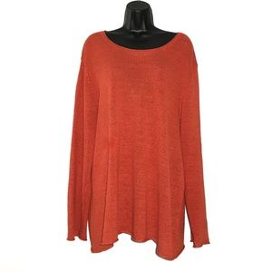 Eileen Fisher Woman 100% Linen Orange Sweater 3X